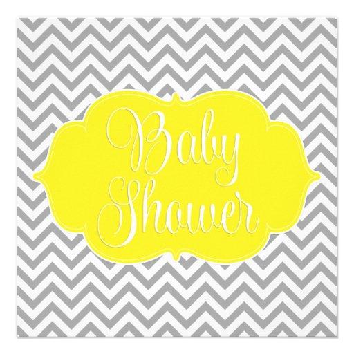 modern chevron yellow gray baby shower square paper