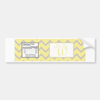 Modern Chevron Yellow/Grey Water Bottle Label