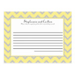Modern Chevron Yellow/Grey Wedding Advice Card Post Card