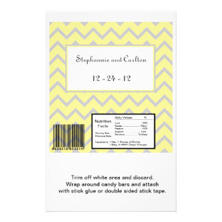 Modern Chevron Yellow/Grey Wedding Candy Wrapper