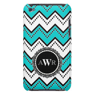 Modern Chevron Zig Zag Monogrammed  Stripe Oval Barely There iPod Cover