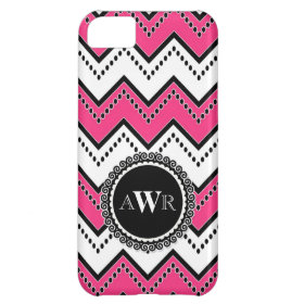 Modern Chevron Zig Zag Monogrammed  Stripe Oval Cover For iPhone 5C