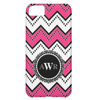 Modern Chevron Zig Zag Monogrammed  Stripe Oval iPhone 5C Cover
