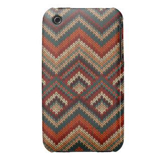 Modern Chevron Zig Zag Stripes Knitting Pattern iPhone 3 Cover
