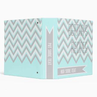 Modern chevron zigzag grey, light blue recipe binder