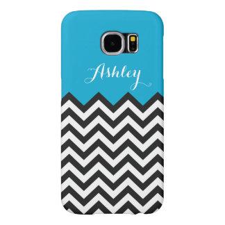 Modern Chevron Zigzag Monogram- Classy Blue Samsung Galaxy S6 Case
