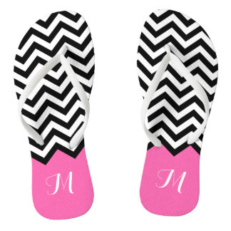 Modern Chevron Zigzag Monogram Girly Rose Pink Flip Flops