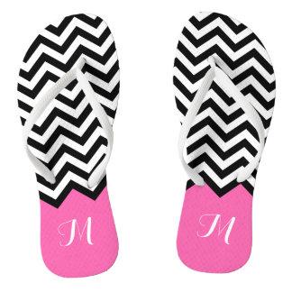 Modern Chevron Zigzag Monogram Girly Rose Pink Flip Flops