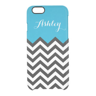 Modern Chevron Zigzag Pattern Monogram Classy Blue Clear iPhone 6/6S Case