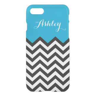 Modern Chevron Zigzag Pattern Monogram Classy Blue iPhone 7 Case