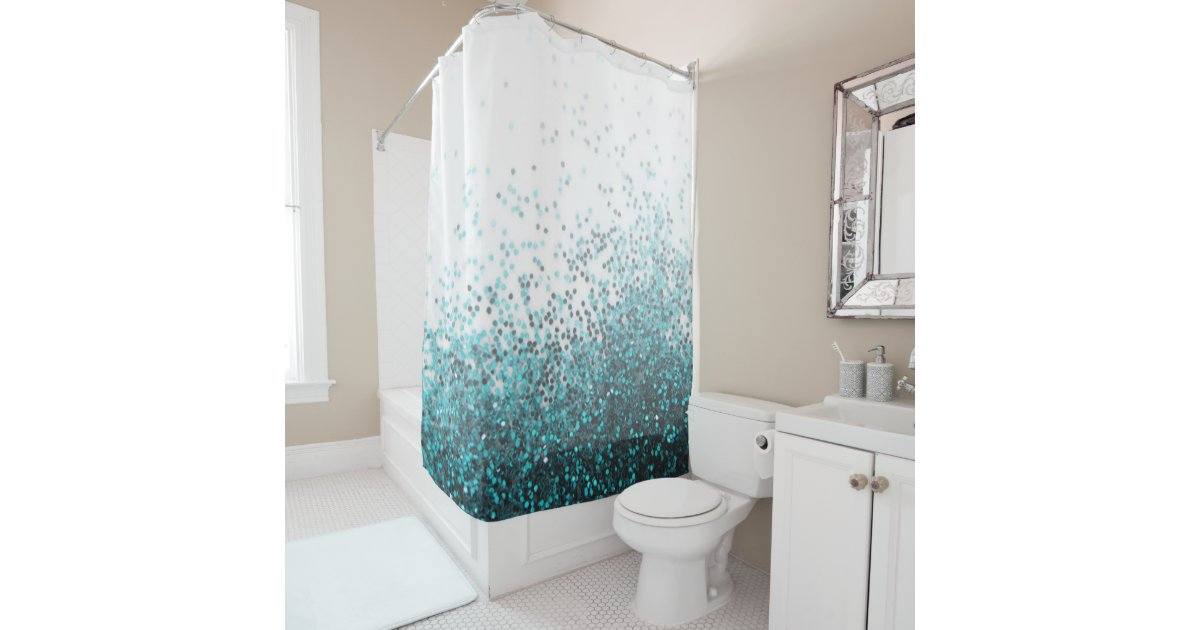 Modern Chic Aqua Green Teal Silver Glitter Sequins Shower Curtain
