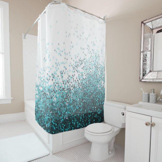 modern chic aqua green teal silver glitter sequins shower