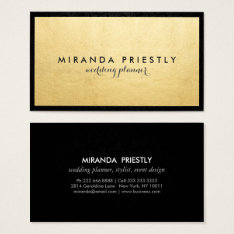 Modern Chic Black And Faux Gold Foil Luxe Creative Business Card at Zazzle