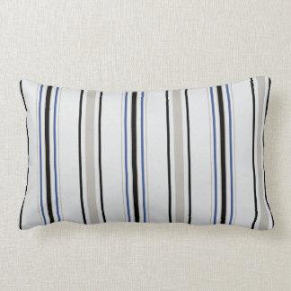 Modern chic black, blue and white stripes pillow