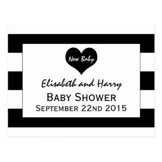 Modern Chic Black & White Baby Shower Postcard