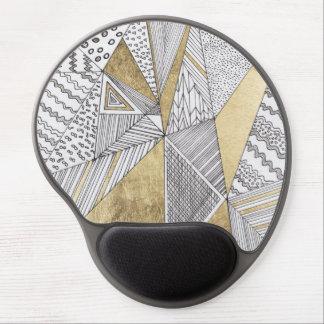 Modern chic black white faux gold geometrical gel mouse pad