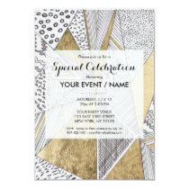 Modern chic black white faux gold geometrical invitation