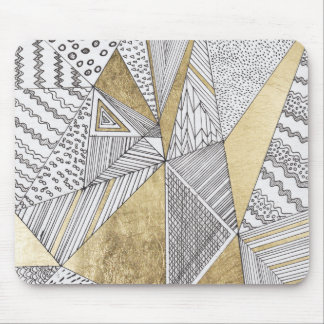 Modern chic black white faux gold geometrical mouse pad