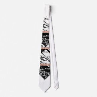 Modern Chic Black White Marble and Rose Gold Strip Tie
