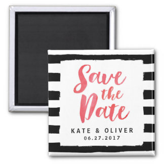 Modern Chic Black & White Stripes Save the Date Magnet