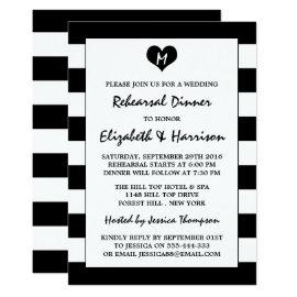 Modern Chic Black & White Wedding Rehearsal Dinner Card