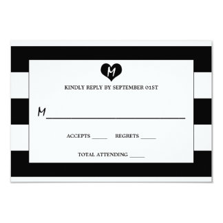 Modern Chic Black & White Wedding RSVP Card