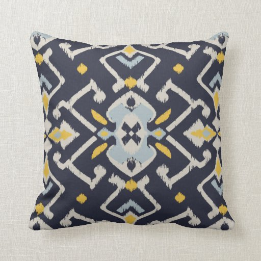 Modern Chic Pillows : Modern chic black yellow turquoise ikat pillow Zazzle