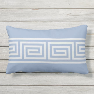 Modern chic blue and white greek key pillow