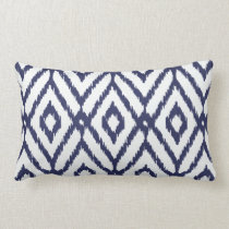 Modern chic blue and white ikat diamond pattern lumbar pillow