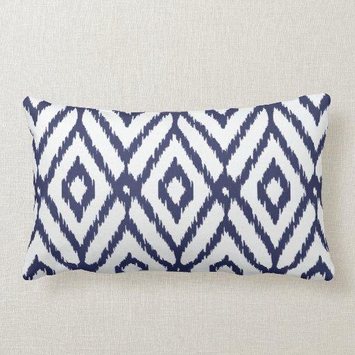 Modern Chic Pillows : Modern chic blue and white ikat diamond pattern pillow Zazzle
