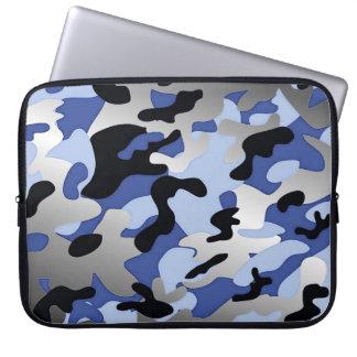Modern Chic Blue-Black-White Camouflage Pattern Computer Sleeve