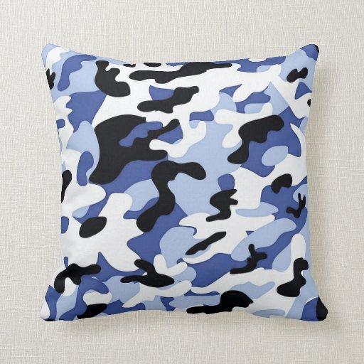 Modern Chic Blue-Black-White Camouflage Pattern Throw Pillow Zazzle