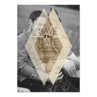 Modern & Chic Blush Diamond Overlay Save The Date Card