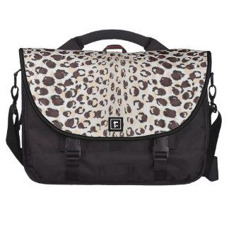 Modern chic brown cheetah print pattern monogram commuter bags