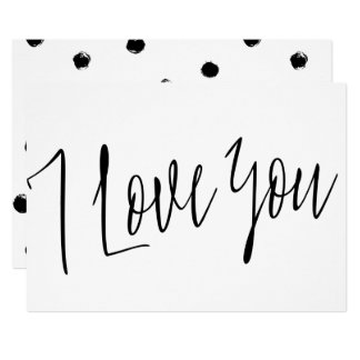 """Modern Chic Calligraphy Style  """"I love you"""" Card"""
