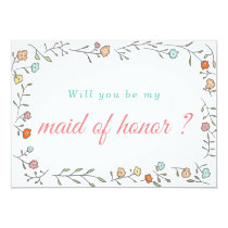 Modern Chic Casual Floral Wedding Maid Of Honor Card