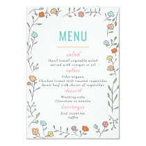Modern Chic Casual Floral Wedding Menu Card