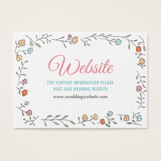 Modern Chic Casual Floral Wedding Website Business Card