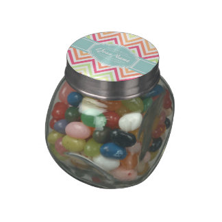 Modern Chic Chevron Turquoise Personalized Nam Glass Candy Jars