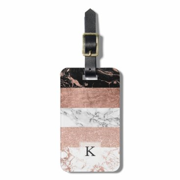 girly_trend Modern chic color block rose gold marble stripes luggage tag