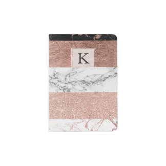 Modern chic color block rose gold marble stripes passport holder