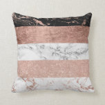 "Modern chic color block rose gold marble stripes throw pillow<br><div class=""desc"">a modern,  chic and elegant handdrawn stripes pattern color block with faux rose gold foil,  faux rose gold glitter black and white marble.</div>"
