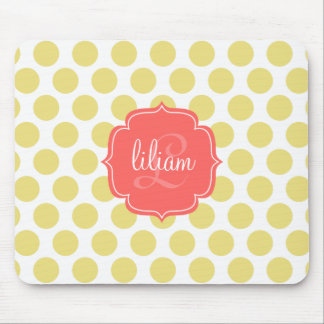 Modern Chic Coral & Gold Dots Personalized Mouse Pad