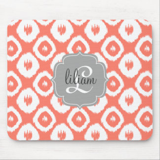 Modern Chic Coral Ikat Diamonds Personalized Mouse Pad