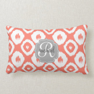 Modern Chic Coral Ikat Diamonds Personalized Pillows