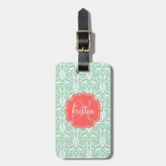 Modern Chic Coral & Mint Green Damask Personalized Tag For Bags