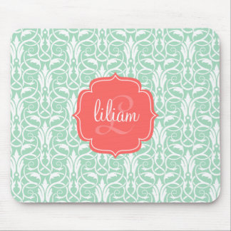Modern Chic Coral & Mint Green Damask Personalized Mouse Pad