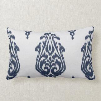 Modern chic damask blue and white ikat pillow