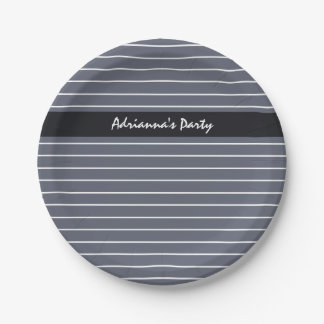 Modern Chic Dark Gray Thin Stripes With Name Paper Plate