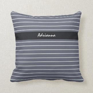 Modern Chic Dark Gray Thin Stripes With Name Throw Pillow